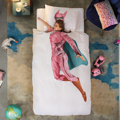 Pink Superhero Duvet Cover