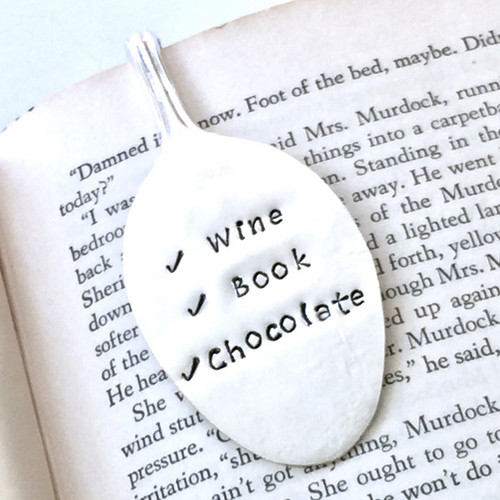 Wine, Book, Chocolate Spoon Bookmark