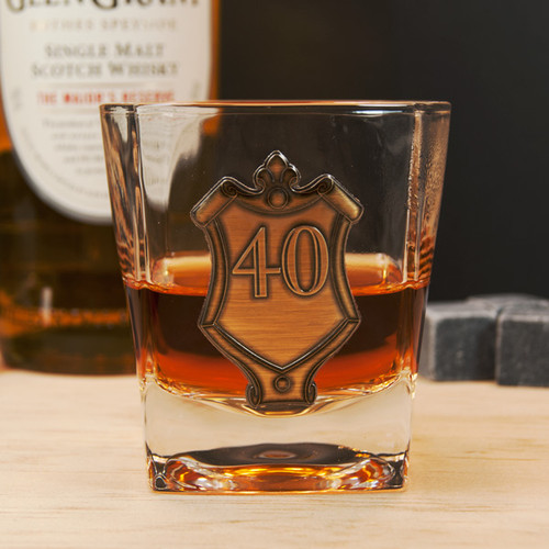 40th Gold Badge Whiskey Glass