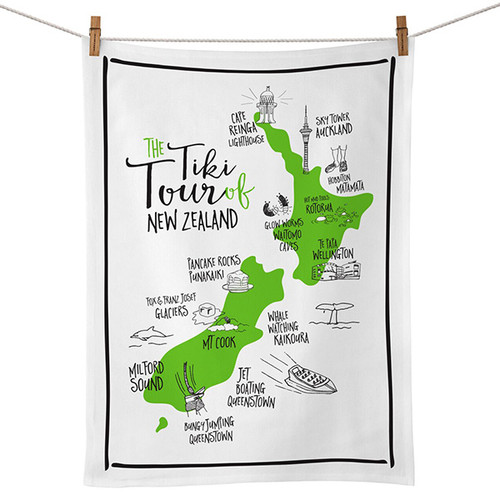 Tiki Tour of NZ Tea Towel