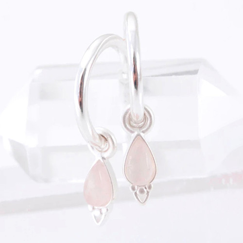 Silver Healing Rose Quartz Gemstone Earrings