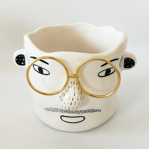 Man with Gold Glasses Planter