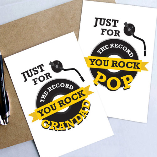 For the Record Pop or Grandad Card nz