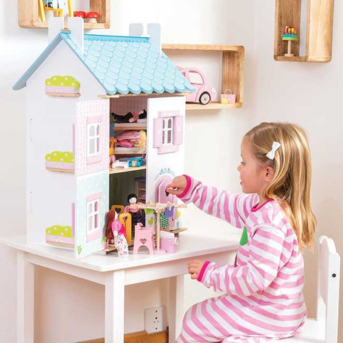 Le Toy Van Blue Bird Cottage with Furniture