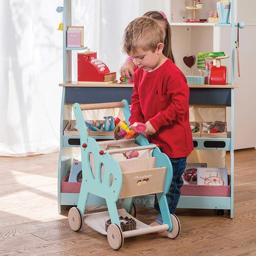 Le Toy Van Shopping Trolley with Detachable Fabric Bag