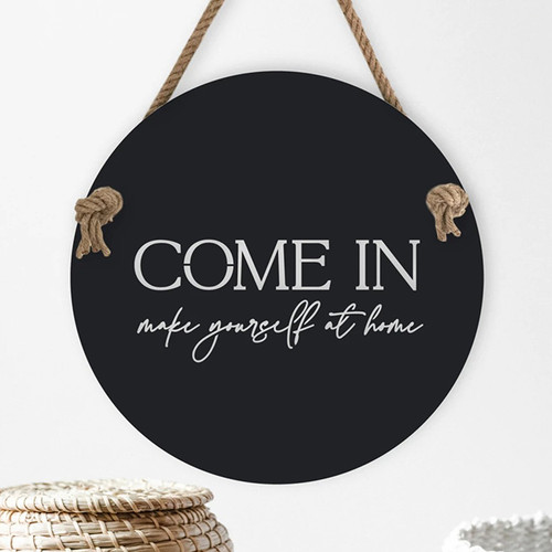 Come In: Make Yourself At Home Stainless Steel Art Plus Rope