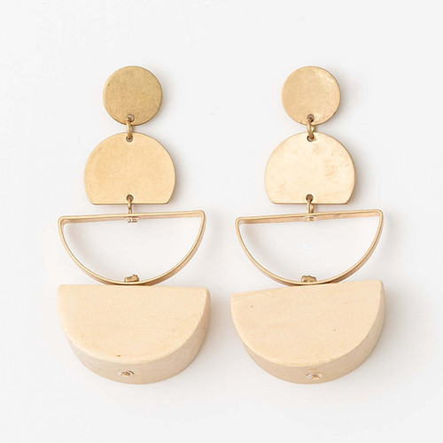 Natural Wood & Brushed Brass Oval Earrings