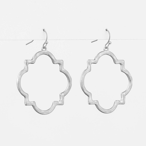 Silver Brocante Square Earrings