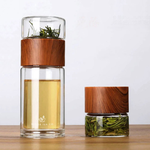 Take Me Away Tea Infuser Flask: Wood Look