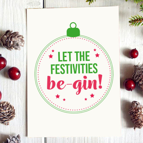 Let the Festivities Be-Gin Christmas Card
