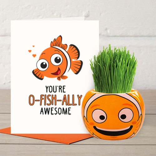 You are O-fish-ally-Awesome - Grass Hair Kit & Card