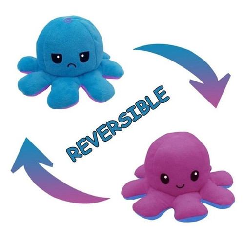 Purple & Blue Reversible Mood Octopus Plush
