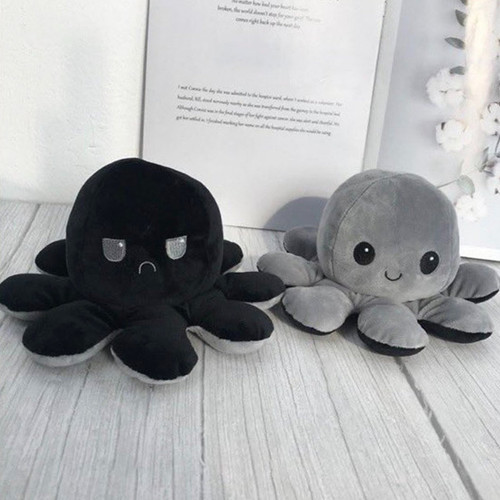 Grey & Black Reversible Mood Octopus Plush