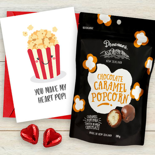 """You Make My Heart Pop"" Gourmet Popcorn & Card"