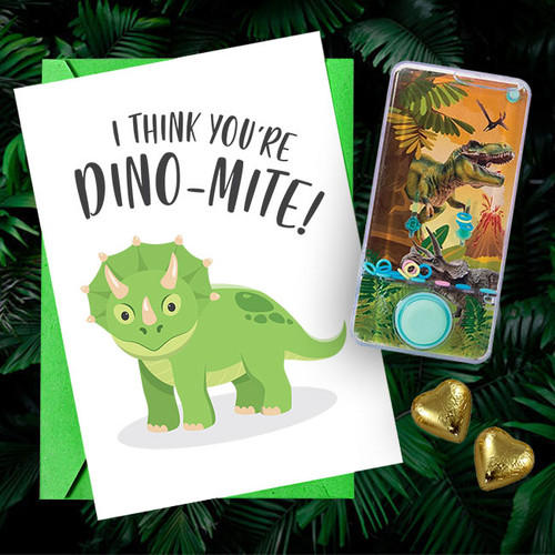 """I Think You're Dino-Mite"" Water-Filled Game & Card"