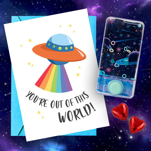 """You're Out of This World"" Water-Filled Game & Card"