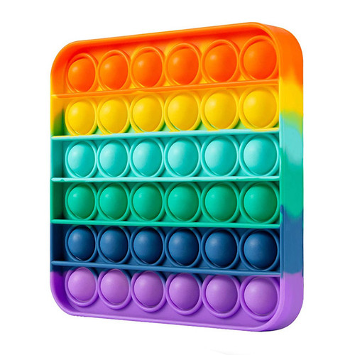Square Rainbow Silicone Push Pop It Bubble Fidget Toy
