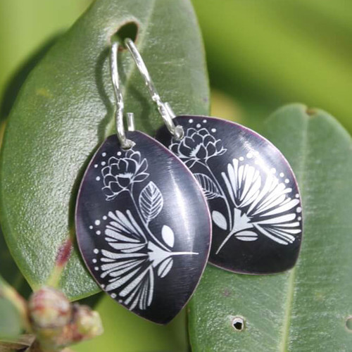Pohutukawa & Rose Earrings