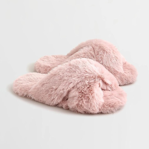 Pink Fur Crossover Slippers