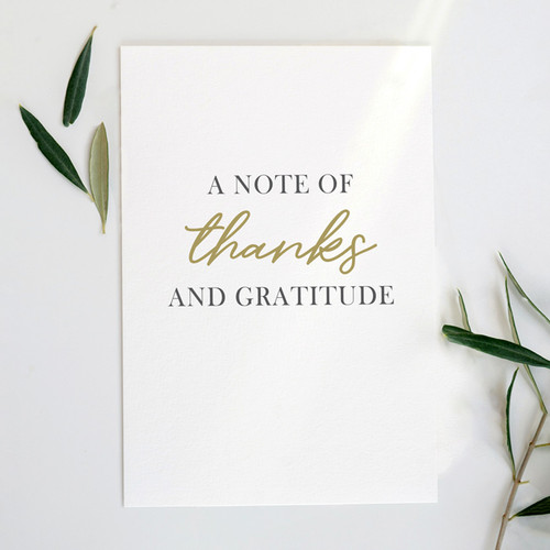 A Note of Thanks and Gratitude Card