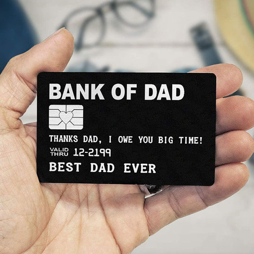 Bank of Dad Engraved Wallet Card