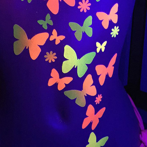 Black Light Reactive Butterfly Body Stickers