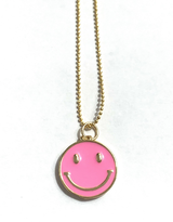 SMILEY FACE NECKLACE-PINK