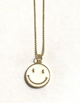 SMILEY FACE NECKLACE-WHITE