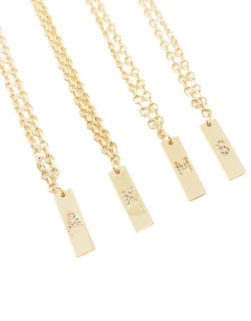 WBS RECTANGLE LETTER NECKLACE