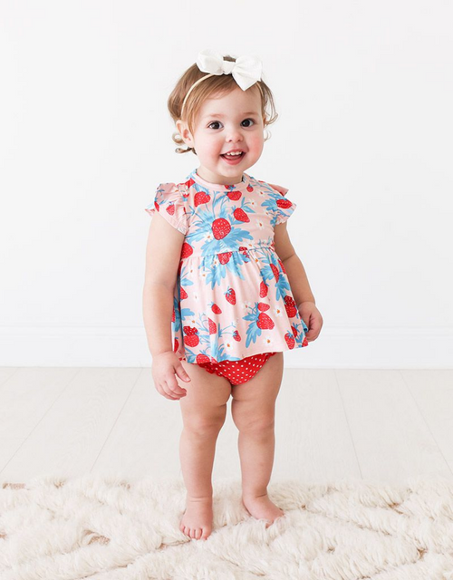 STRAWBERRY RUFFLE CAP SLEEVE BLOOMER SET