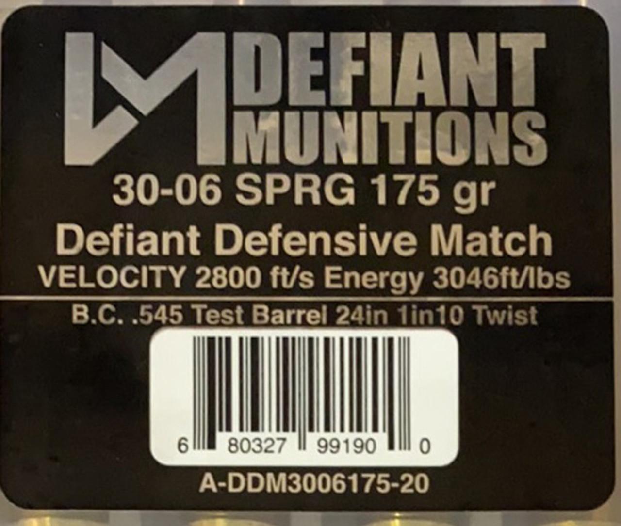 30-06 175 gr SPRG DDM (Defiant Defensive Match)