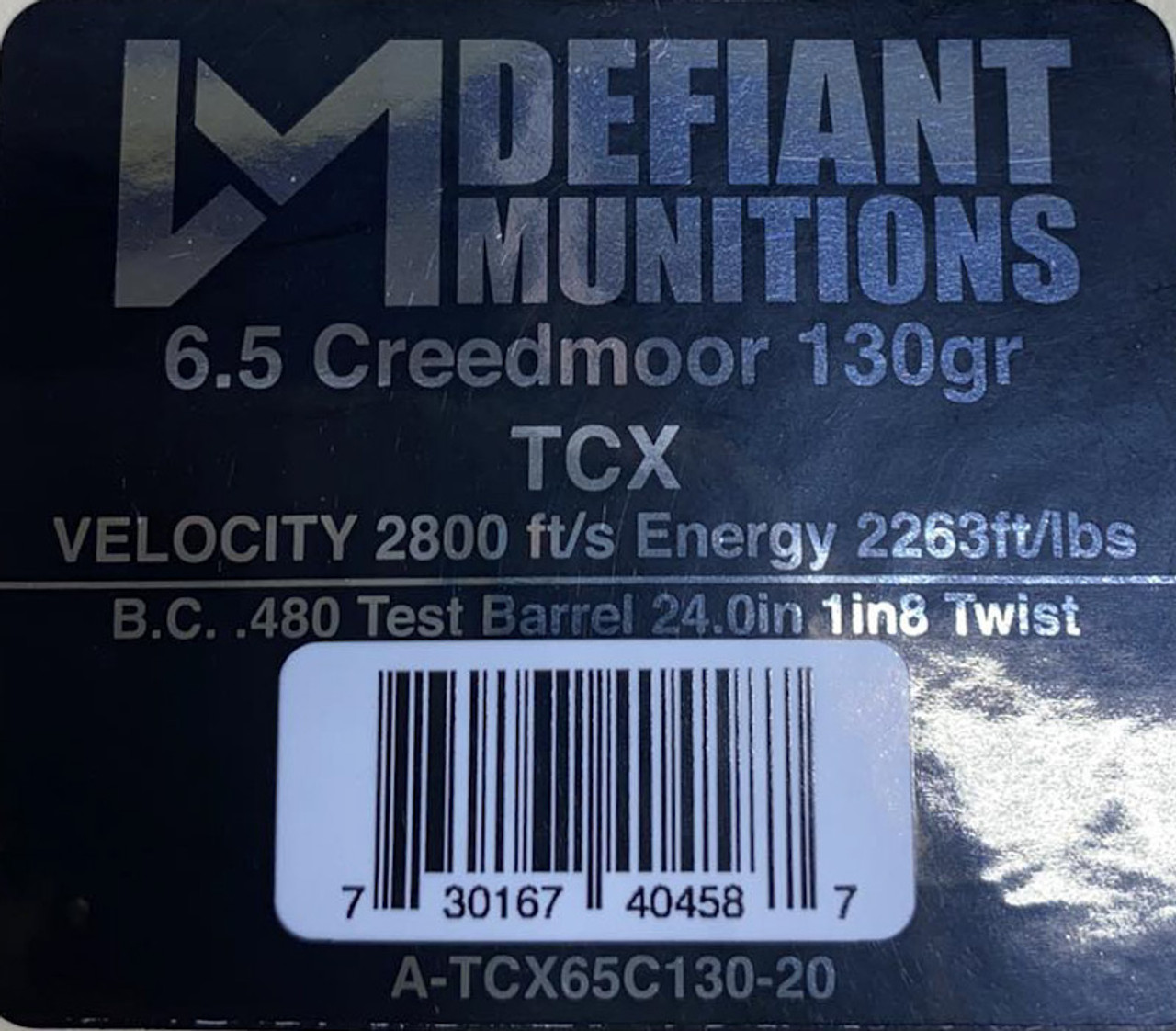 6.5 Creedmoor 130gr TCX (Total Copper X-panding) Solid Copper Defensive Ammunition