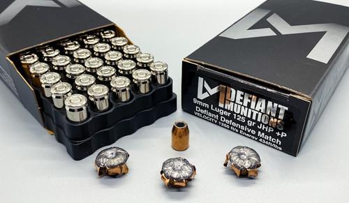 9mm Luger 125 gr +P Defiant Defensive Match Ammunition