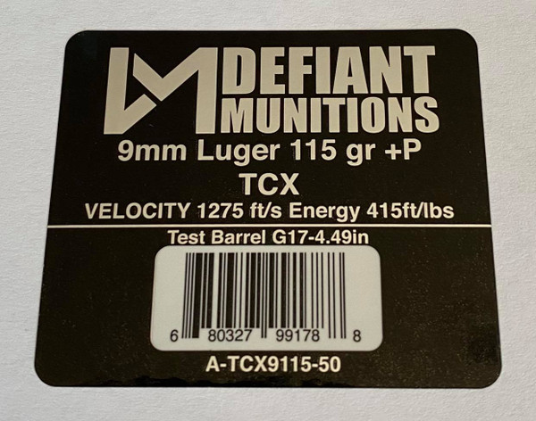 9mm Luger 115 gr +P TCX  (Total Copper X-panding) Solid Copper Defensive Ammunition