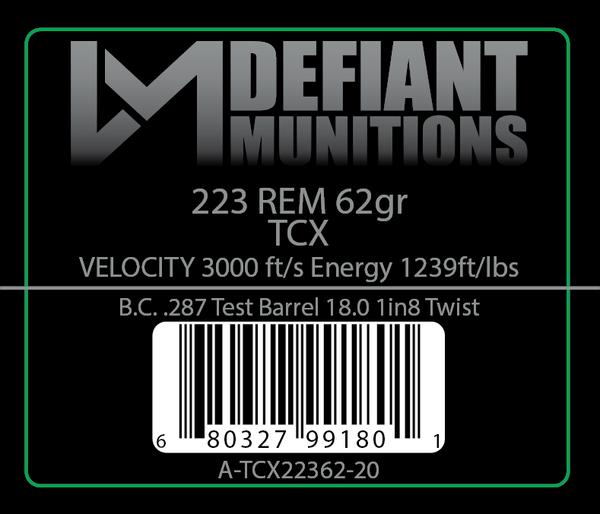 .223 62gr TCX (Total Copper X-panding) Solid Copper Defensive Ammunition