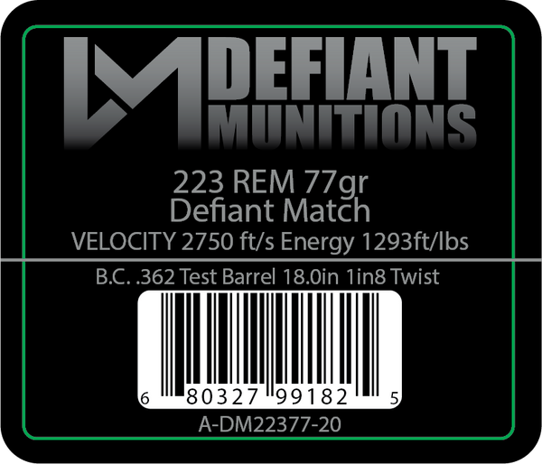 .223 77gr Defiant Match Ammunition