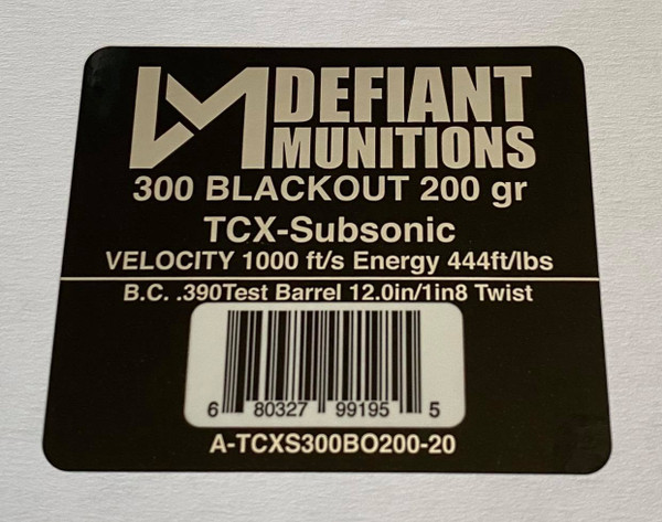 300 BLACKOUT 200 gr TCX-Subsonic (Total Copper X-panding) Solid Copper Defensive Ammunition
