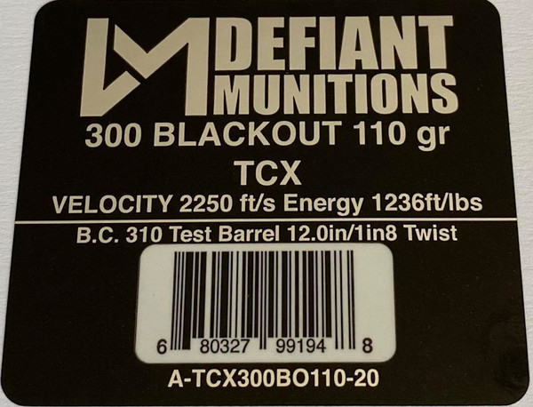 300 BLACKOUT 110 gr TCX (Total Copper X-panding) Solid Copper Defensive Ammunition