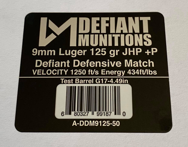 9mm Luger 125 gr +P Defiant Defensive Match Ammunition