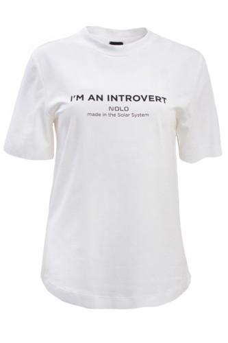 White Regular Fit T-Shirt With Print   Introvert