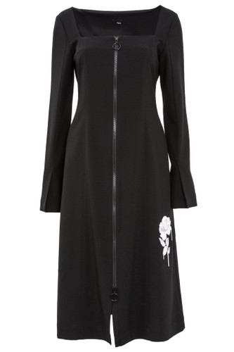 Square-Neck Long-Sleeve Dress With Embroidery | Rosemary