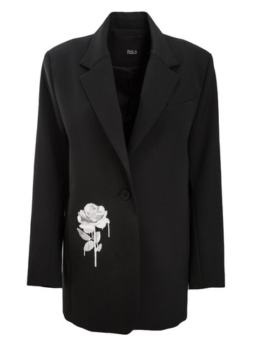 Black Tailored Semi-fitted Blazer With Embroidery   Rosie