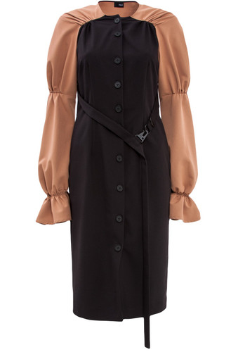 Long-Sleeve Button-Up Dress With Frills | Marigold