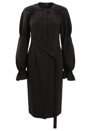 Black Long Sleeve Knee Length Dress With Frills | Marigold