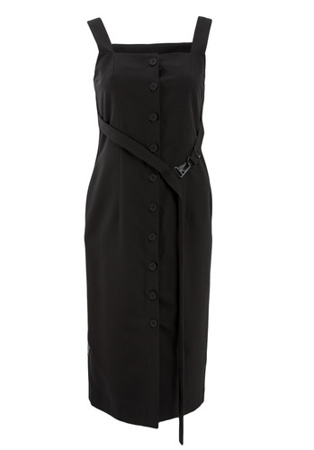 Black  Buttoned Dress With Straps And Waist Strap | Goldie