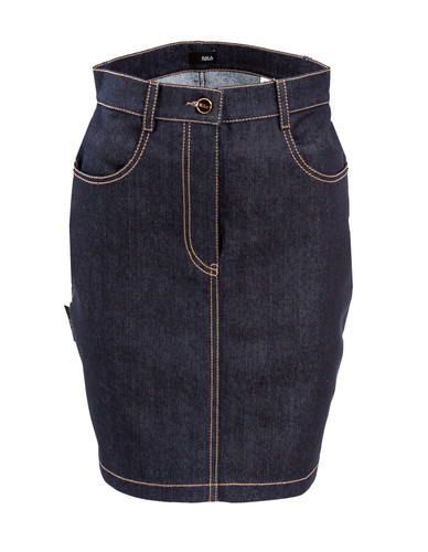 Denim Mini Skirt With Contrasting Seams And Details| Theresa