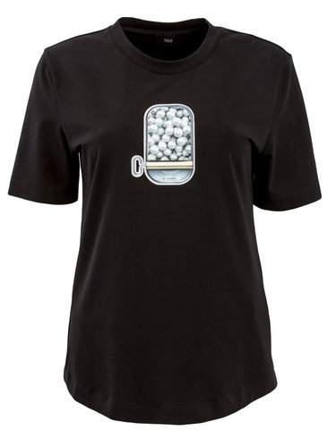 Black Fitted T-Shirt With Patent Print | Canned Pearls
