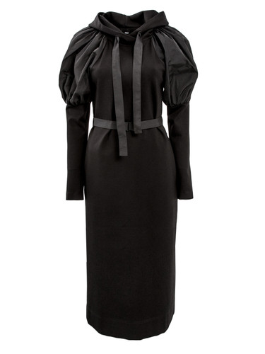 Black Jersey Midi Dress With Puff Sleeves | Chantal