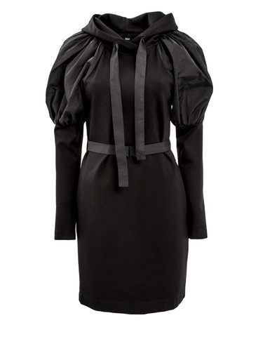 Black Jersey Mini Dress With Puff Sleeves   Charlie
