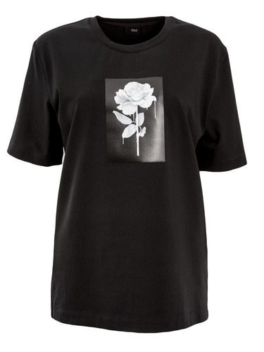Black Regular Fit T-Shirt With Patent Print | Rose